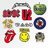 WANCHANG Personalidad Banda clásica Rolling Stones Beatles Rock Nirvana Maleta Equipaje Marea Casco de Guitarra Pegatina Impermeable