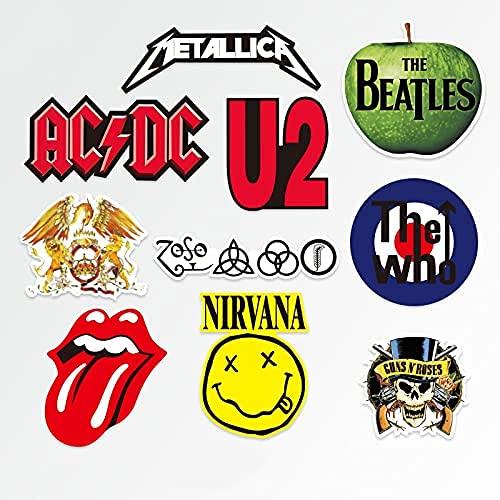 YACHAO Personalidad Banda clásica Rolling Stones Beatles Rock Nirvana Maleta Equipaje Marea Casco de Guitarra Pegatina Impermeable
