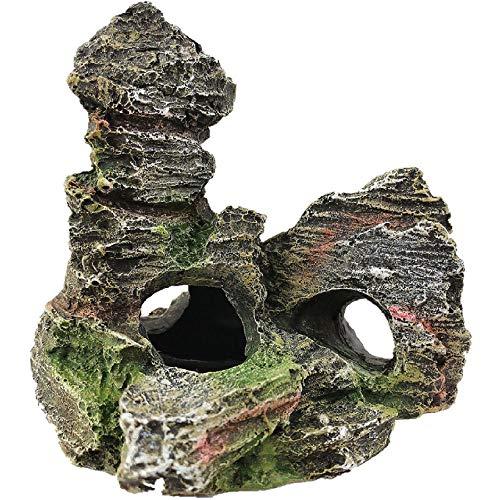 YAOHEHUA Guaridas Piedras hábitats Reptiles y Anfibios Artesanía de Resina de simulación de rocallas decoración de acuarios decoración de Rocas