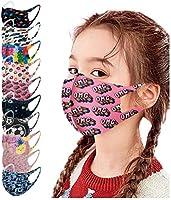 Jeeke 10Pcs Children's Breathable Face Bandanas, Kids Reusable Washable Face Protection Ice Silk Dustproof Boys Girls...