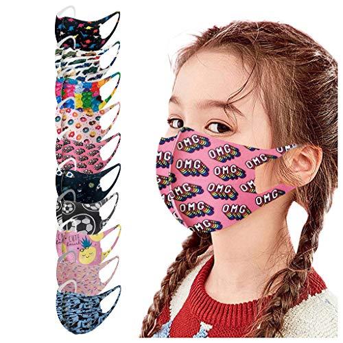 Eaylis 10 Stück Kinder Face Mask Mundschutz Multifunktionstuch 3D Cartoon Druck Maske Animal Print Atmungsaktive Baumwolle Stoffmaske Waschbar Mund-Nasenschutz Bandana Halstuch Jungen Mädchen