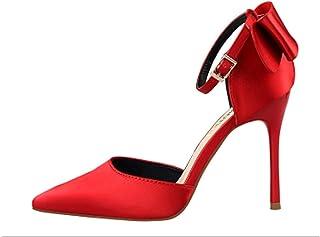 Damesschoenen Stiletto Hoge hak Ondiepe mond puntige satijnen holle rug boog sandalen met een woord 35-43 grootte,A,37
