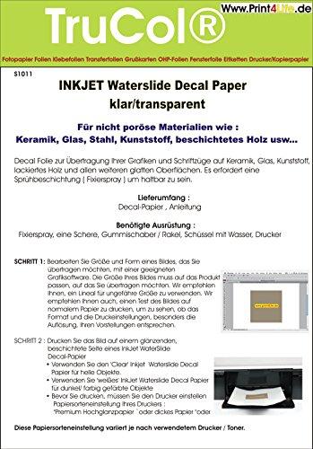 5 Blatt Inkjet Tintenstrahl Wasserschiebefolie Decal Papier Transfer Folie DIN A4 transparent wasserabschiebefolie transferfolie transferpapier