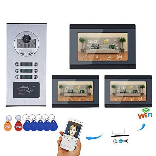 Preisvergleich Produktbild WG Video Intercom 7 Zoll WiFi Wireless Video Türsprechanlage Türklingel Intercom System Android IOS APP Für 3 Einheiten Wohnung
