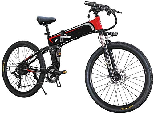 Electric Bike Electric Mountain Bike, Mens Mountain Bike Ebikes All Terrain with LCD Display Folding Electronic Bicycle 1000w 7 Speed 48v 14ah Batttery 26 4 Inch Electric Bike Full Suspension for Me