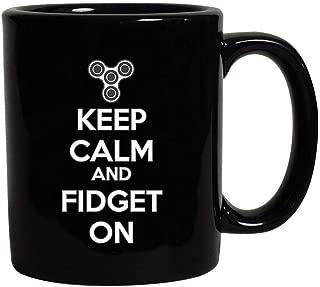 Keep Calm and Fidget On Black Coffee Mug (Black, 11 oz)