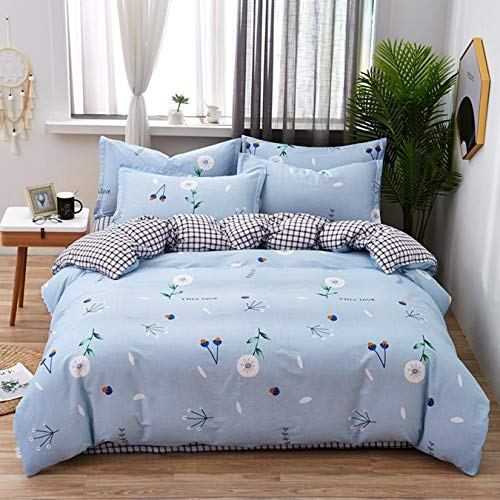 VOMI Reversible Bedding Set 4 Pcs Modern Exquisite Plant Print + Black and White Grid with Zipper Duvet Cover 160x210 cm and 2 Pillowcases 48x74 cm, 1 Bed Sheet 230x250 cm, Light-Blue