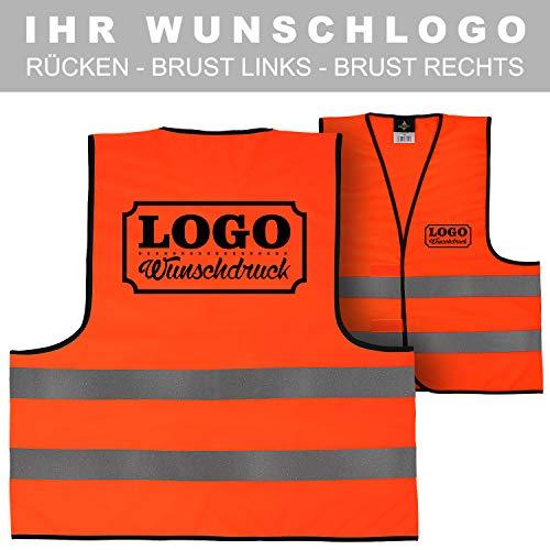 Warnweste Signalweste Sicherheitsweste bedruckt mit Wunschlogo Name Text Motiv SIGNAL ORANGE Rücken + linke Brust