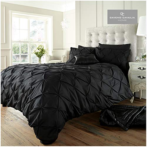 Signature Pintuck Bedding Alford Duvet Set Superking, Easy Care Bed Coverlet, Polyester-Cotton Ultra Soft Quilt Cover and 2 Pillowcases, Black