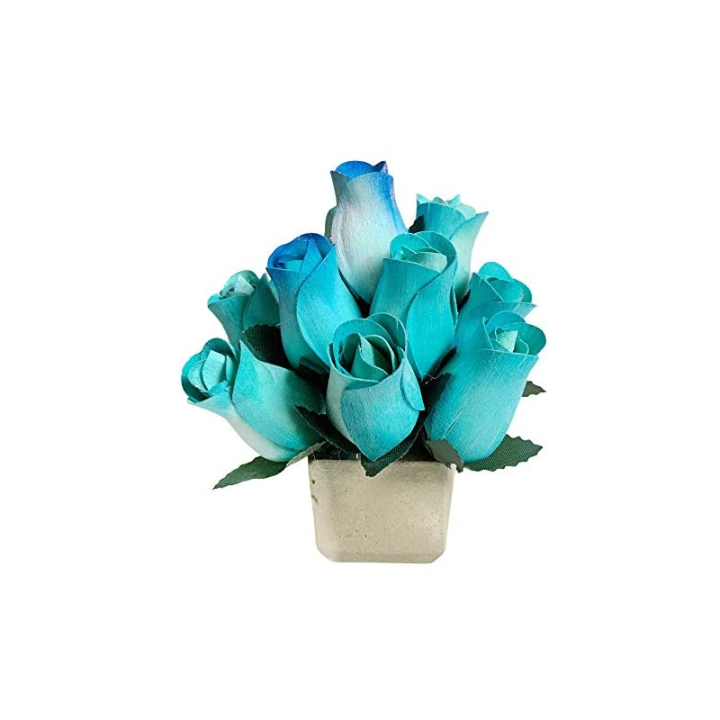 silk flower arrangements blue fake roses scented wooden flowers 13 pc artificial rose flower bouquet in cement pot with refresher spray