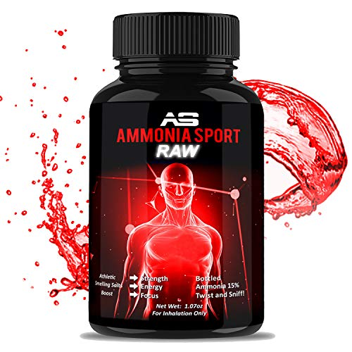 Smelling Salts - RAW - 100's of Uses Per Bottle - Add Water to Activate - For Advanced Users - STRONGEST Smelling Salt For Athletes - Ammonia Inhalant - Adrenaline Supplement - AmmoniaSport