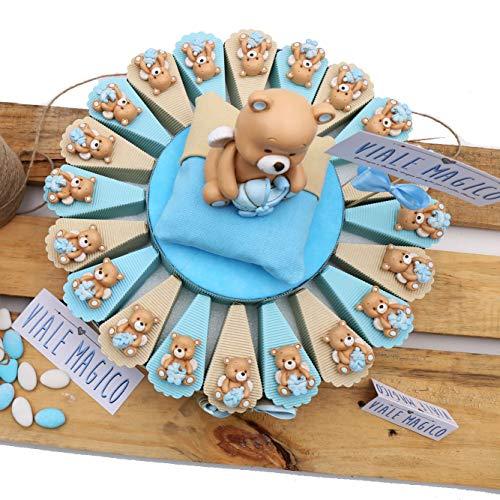 Bomboniere Battesimo con Confetti Torta Orsetto con Ali Bimbo Magnete 20 fettine