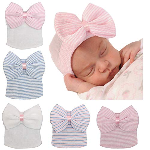 Upsmile 5 Pieces Newborn Baby Hat Cap with Big Bow Decoration Nursery Beanie
