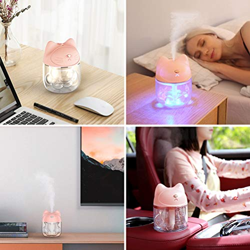 Pandao Humidificadores, multifunción Cat Claw Cup Mini humidificador USB Aromaterapia Difusor Purificador de Aire con luz Nocturna Mini Ventilador para Uso doméstico