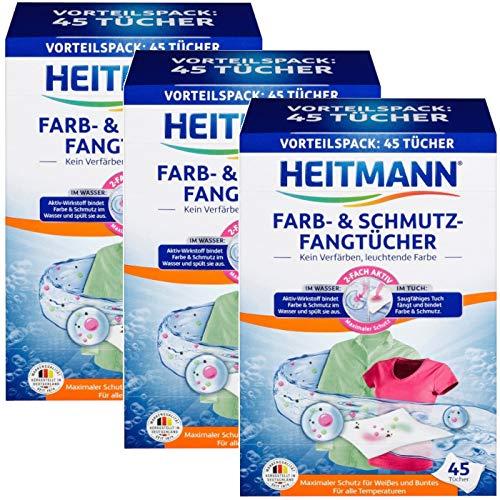 Heitmann Farb- und Schmutzfangtücher,Schmutzfänger, zweifach aktiver Wäscheschutz vor Verfärbungen und Vergrauungen, 3x45 Stück