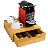 Bakaji Dispensador Con Cajón Para Almacenar Cápsulas Almacenamiento Organizador Cápsula de Nespresso Dolce Gusto Café Té Pòds Porta Cápsulas de Madera de Bambú 31 x 30,5 x 9,5 cm