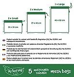 Mesh Bags - Bolsas de red ecológicas, reutilizables, lavables, aptas para la compra, de tela, color blanco, juego de 5 + 1