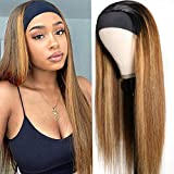 UNice Ombre Blonde Straight Headband Wig Human Hair for Black Women Brazilian Remy Hair Glueless Brown mixed honey Blonde Streaks None Lace Front Straight Human Hair Wig T1B412 Colored 18 inch