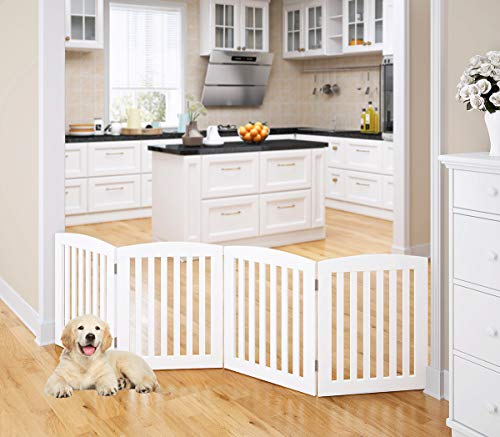 PAWLAND Wooden Freestanding Foldable Pet Gate for Dogs, 24 inch 4 Panels Step Over Fence, Dog Gate for The House, Doorway, Stairs, Extra Wide (White, 24' Height-4 Panels)