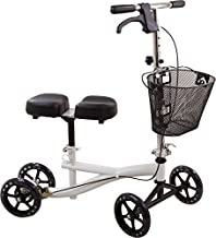 Roscoe Knee Scooter with Basket - Knee Walker for Ankle or Foot Injuries - Height Adjustable Knee Crutch Medical Scooter, White
