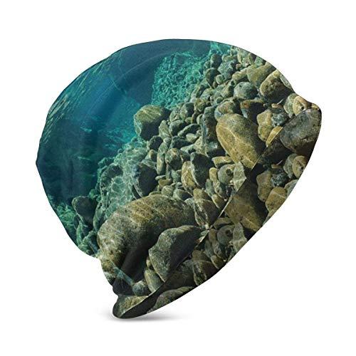 Beanie Knit Cap para nio nia, Vista submarina con Rocas y guijarros Torrent Clear Water Fresh of Dumbea River, Suave y clido Gorro de Invierno