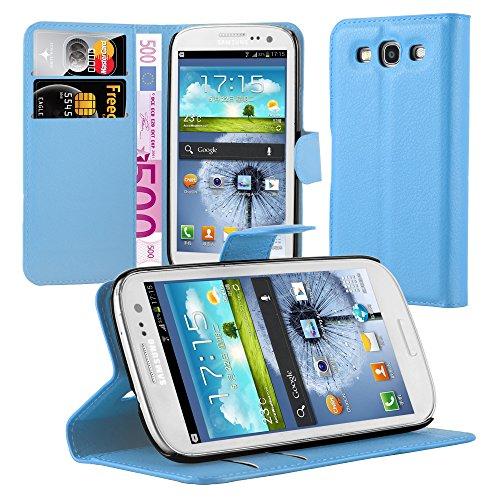 Cadorabo Hülle für Samsung Galaxy S3 / S3 NEO - Hülle in Pastel BLAU – Handyhülle mit Kartenfach und Standfunktion - Case Cover Schutzhülle Etui Tasche Book Klapp Style