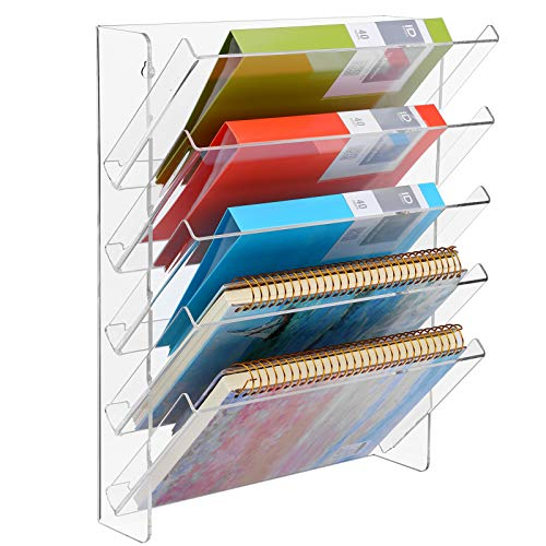 MaxGear Hanging Wall Files Organizer Acrylic Wall File Holder 5 Tier Vertical Wall Mount File Organizer Hanging Mail Organizer Magazine Literature Rack with Detachable Dividers for Office Home, Clear