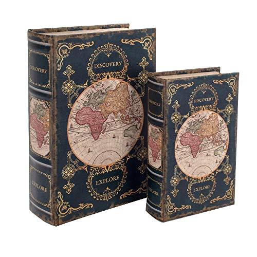 BY SIGRIS Signes Grimalt Libros Decorativos | Caja Libro de Madera - Diseño Mapa 2-27 x 7 x 18 cm
