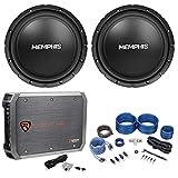 2) Memphis Audio SRX1044 10' 400w SRX Car Subwoofers Subs+Mono Amplifier+Amp Kit