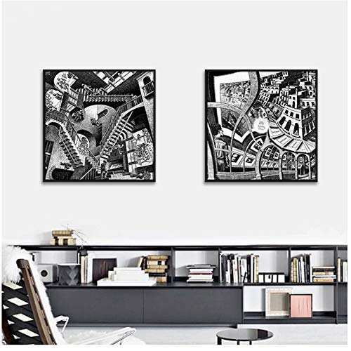 Maurits Cornelis Escher Meester van de illusie, Bouw Abnormaliteit Canvaskunst Schilderij Poster Muur Foto voor Huisdecoratie -50x50cm x2pcs Geen Frame