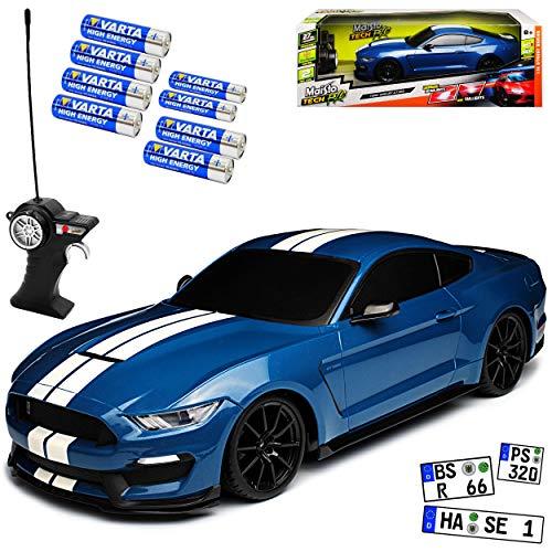 Maisto Ford Shelby Mustang VI GT GT350 Blau mit Streifen Ab 2014 27 MHz RC Funkauto - inklusive Batterien - sofort startklar 1/14 Modell Auto
