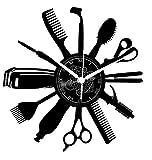 Reloj de pared de vinilo Decoración artesanal vintage Peluquería Diseño moderno...