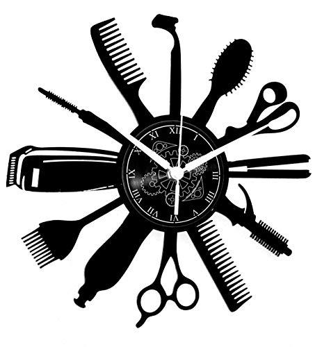Reloj de pared de vinilo Decoración artesanal vintage Peluquería Diseño moderno Barba Belleza Hombre Mujer
