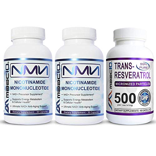 MAAC10 NMN Resveratrol NAD Booster Combo Pack - Nicotinamide Mononucleotide NAD+ Supplement 250mg (60 x 125mg NMN Capsules) 99% Pure Trans Resveratrol Extract (60 x 250mg Capsules).