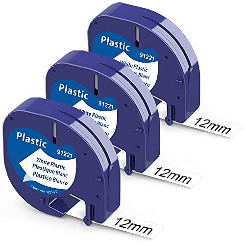 Anycolor-Cinta de Etiquetas compatible para usar en lugar de Dymo Letratag 91201-91331-91221-S0721610, Recambio Cinta para LT-100H LT-100T LT-110T QX 50 XR XM 2000 Plus, Dymo Letratag 12mmx4mm, 3-Pack