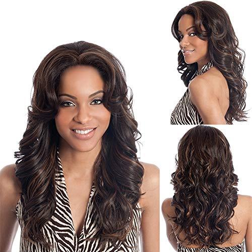 Femme perruque Fashion Big Wave long Curly cheveux Fluffy perruque Party banquet partie tempérament pleine perruque ensemble approprié pour toutes les couleurs de la peau 45cm