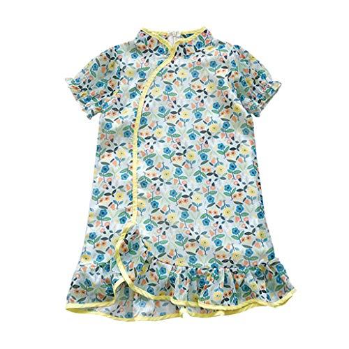 FRAUIT Vestito Bambina Manica Corta T-Shirt Vestitos Abito Bambina Damigella Elegante Abiti da Spiaggia Vestiti Principessa Ragazze Abito Battesimo Neonato