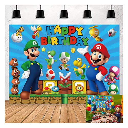 Super Mario Gold Coin Video Game Happy Birthday Theme Photography Backdrops 5x3ft Children Boys Birthday Party Decor Supplies Cake Table Decor Kids Shoot Photo Backgrounds Props Vinyl