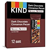 KIND Bars, Dark Chocolate Cinnamon Pecan, Gluten Free, Low Sugar, 1.4oz, 12 Count
