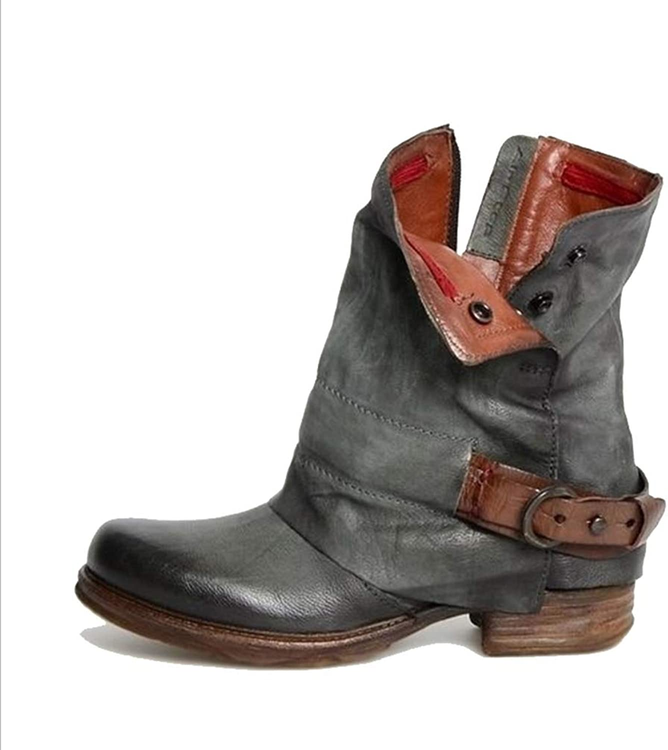 T-JULY Women's Ankle Boots Autumn Western Motorcycle Boots Ankle Bootie Causal Footwear shoes Booties