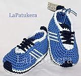 Patucos para bebé de crochet, Unisex. Estilo Adidas, de color Azul vaquero,...
