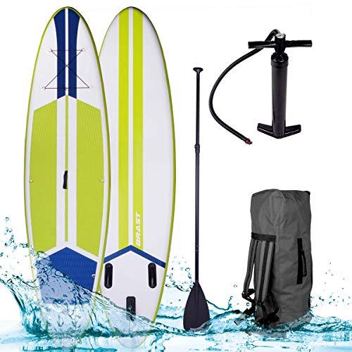 SUP Board Stand up Paddle Paddling Galaxy Grün 300x76x15cm aufblasbar Alu-Paddel Hochdruck-Pumpe Rucksack 110KG