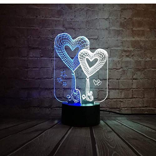 Sweety for Valentine s Day Love Arrow Double Heart 3D Table Night Remote USB o Touch Mixed Living Room Lámpara decorativa (ZYJHD)
