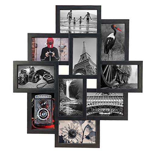 10 Opening 4x6 Black Collage Picture Frame Wall Hanging for 4 by 6 inch Multiple Photo Frames