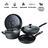 4Pcs Non-Stick Cookware Set, Home Kitchenware with Saucepan Frying Pan Stockpot for Gas Stove and...