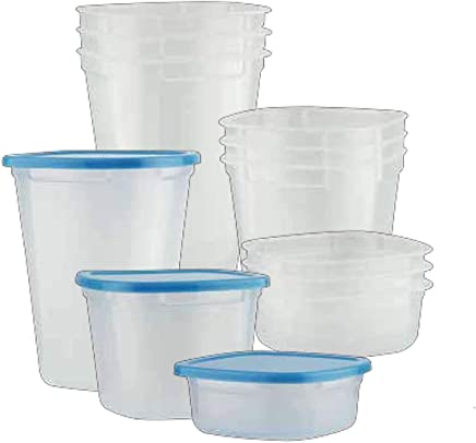 Prestige Plastic 12 Piece Set of Containers with Lid, PR46218, Clear