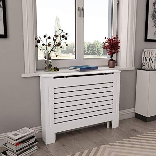 Festnight Cache-radiateur Couverture de Radiateur avec Design Moderne à Lattes Blanc 112x19x81,5 cm MDF