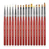 Leeofty 16 Uds pinceles para decoración de uñas delineador de uñas pintura tallado bolígrafos acrílico UV Gel Builder Set de pinceles para pintura de uñas dibujo herramienta de uñas DIY