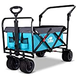 TMZ All Terrain Utility Folding Wagon, Collapsible Garden Cart, Heavy Duty Beach Wagon, for Shopping, Camping, and Outdoor Activities with Push Handle and Brakes (Turquoise&Grey)…