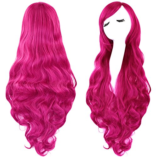 """Rbenxia Curly Cosplay Wig Long Hair Heat Resistant Spiral Costume Wigs Anime Fashion Wavy Curly Cosplay Daily Party Rose Red 32"""" 80cm"""